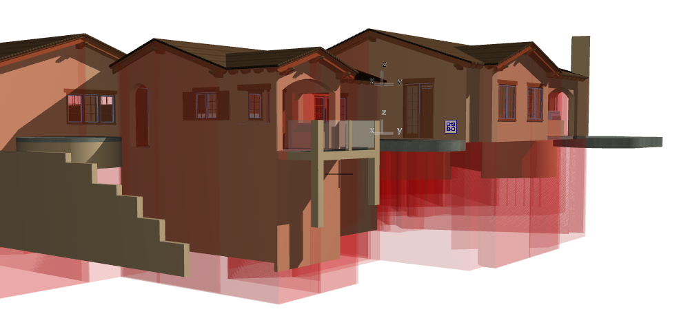 ArchiCAD 3D view with red trimming bodies (from roofs)visible